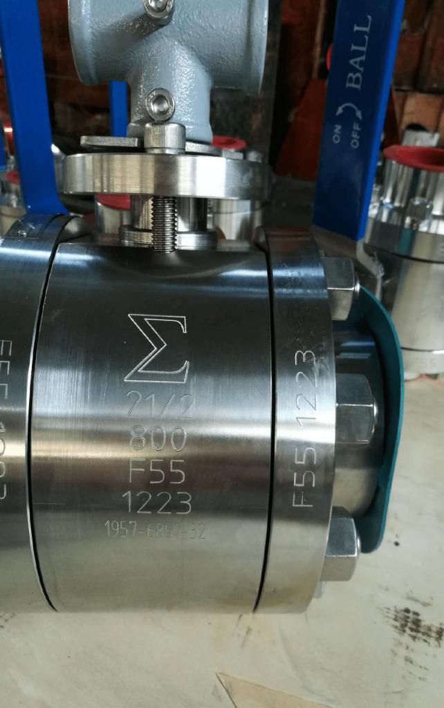 Ball valve Super Duplex A182 F55 UNS S32760 body ball PTFE seats NPT ends engraved logo