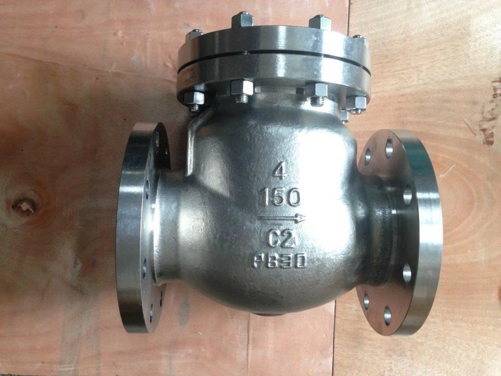 Swing check valve cast Titanium B381 Gr 2 flanged 150 front