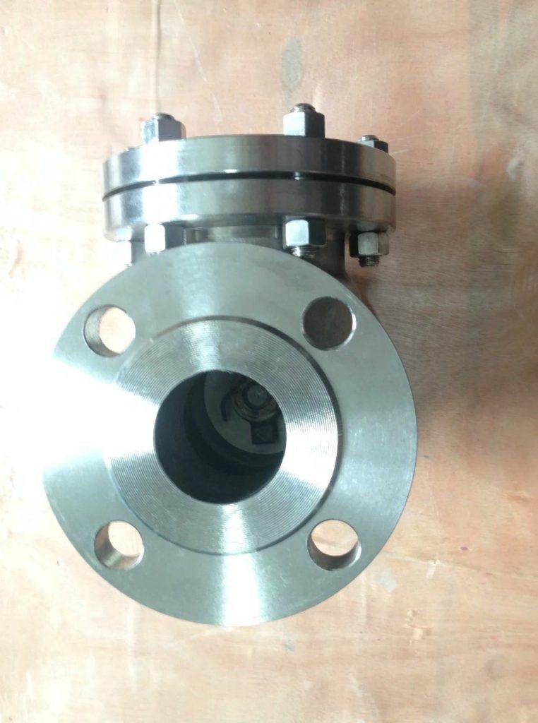 Swing check valve cast Titanium B381 Gr 2 flanged 150 side